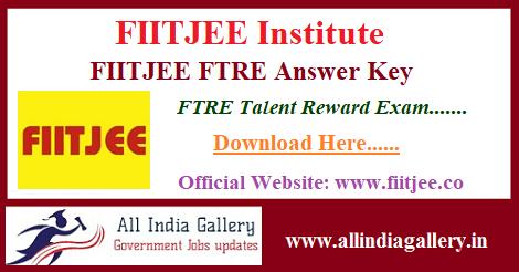 FIITJEE FTRE Answer Key Paper