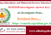 RSMSSB Investigator Answer Key 2020