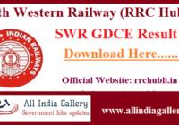 SWR GDCE Result RRC Hubli