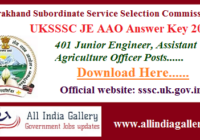 UKSSSC JE AAO Answer Key 2020