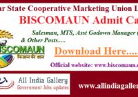 BISCOMAUN Salesman MTS Admit Card
