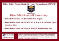 Bihar Police Steno ASI Answer Key