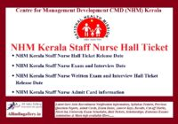 NHM Kerala Staff Nurse Interview Hall Ticket