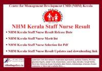 NHM Kerala Staff Nurse Result