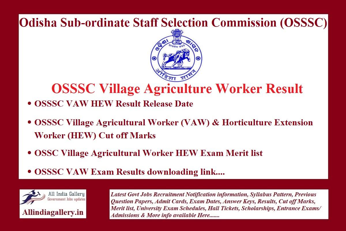 OSSSC Village Agriculture Worker Result