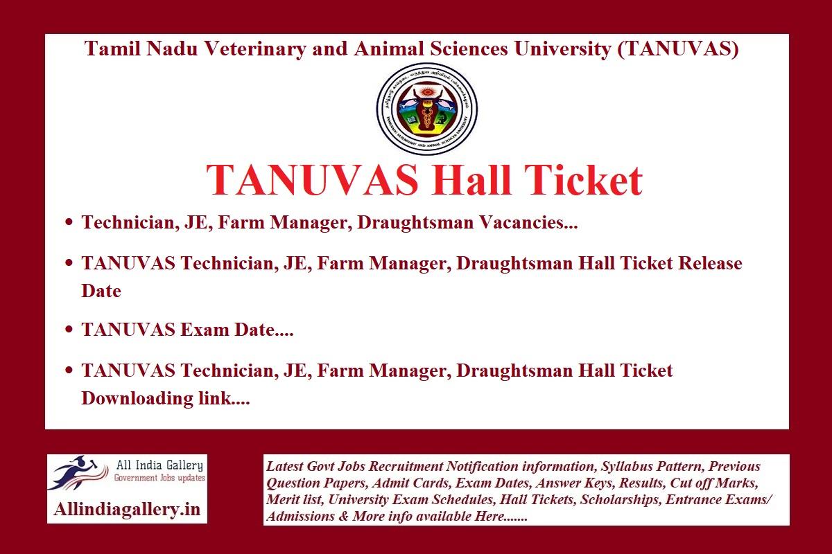 TANUVAS Hall Ticket