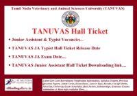 TANUVAS Junior Assistant Hall Ticket