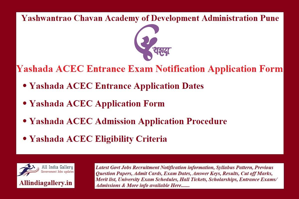 Yashada ACEC Exam Notification Application Form