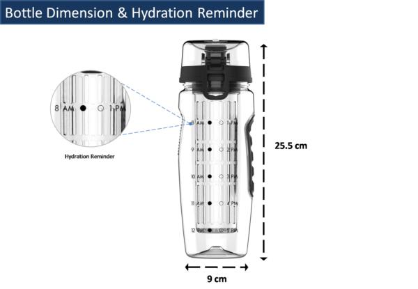 Fruit Infuser Water Bottle Dimension - Platinum