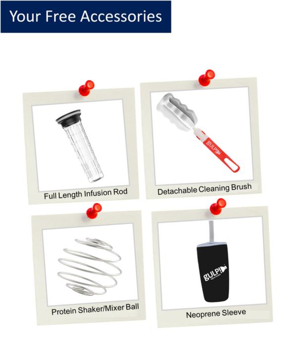 gulp!™ Fruit Infuser Platinum Edition Components