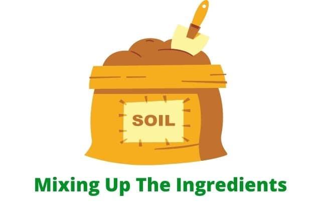 Blending the potting soil ingredients