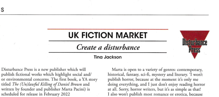 Preview of an article about Disturbance Press by Tina Jackson titled Create a Disturbance