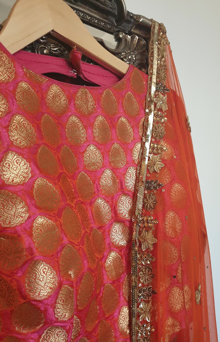 000-23 Zesty Orange lengha piece