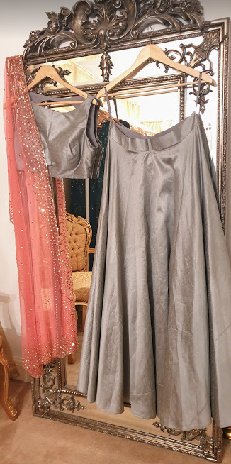 000-24 Grey with pink Duppatta