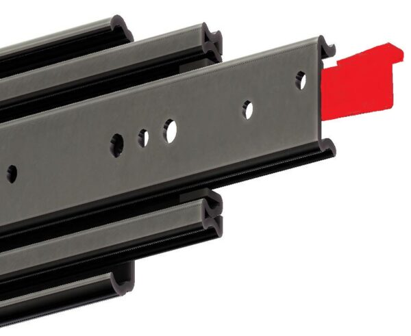 Container Red Slide Fully Locking. Heavy Duty/ Hi-Load (180-250 kg/pair) - Pair Pricing