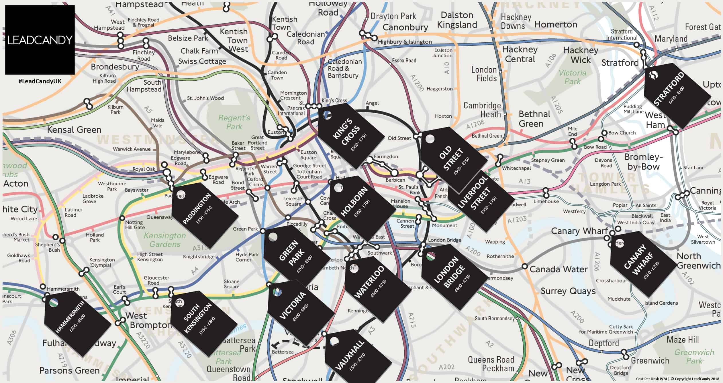 Approximate Cost Per Desk Tube Map For London