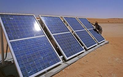 Pannelli solari su pozzo in produzione