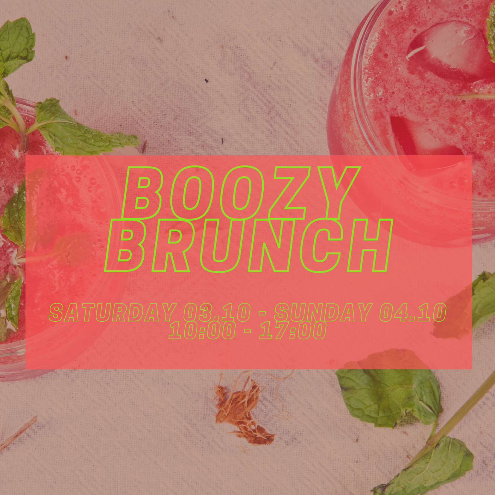 White Bordered Red Bloody Mary Brunch Invitation