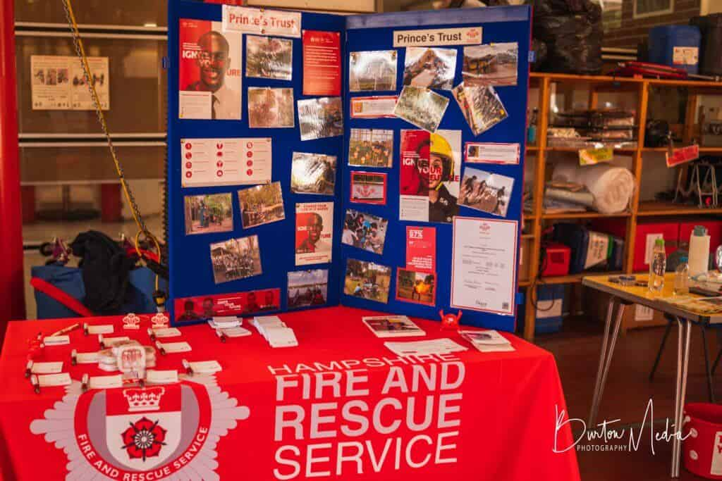 Prince's Trust information with Hampshire Fire and Rescue