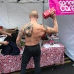 Crushing Cancer Calendar model topless in Woking