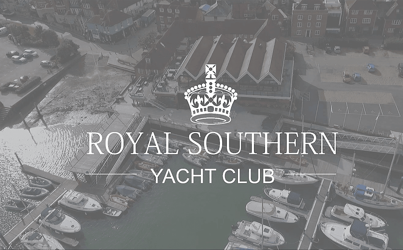 An aerial drone shot of the Royal Southern Yacht Club