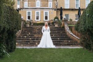 The beautiful bride Amelia in a Brides of Southampton wedding dress at Chilworth Manor, Hampshire for a bridal photoshoot