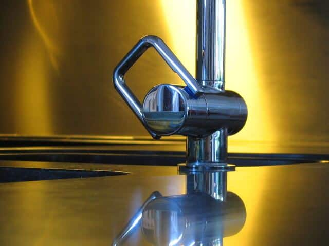 Kitchen tap and shinny worktop