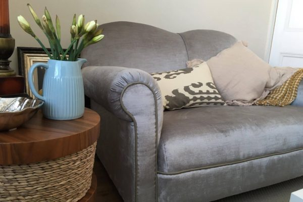 1920's Drop Arm Sofa Recovered in Panaz Indulgence