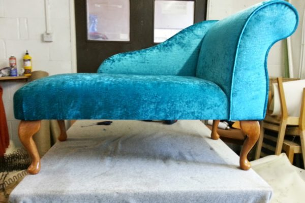 Turquoise Chaise Recover