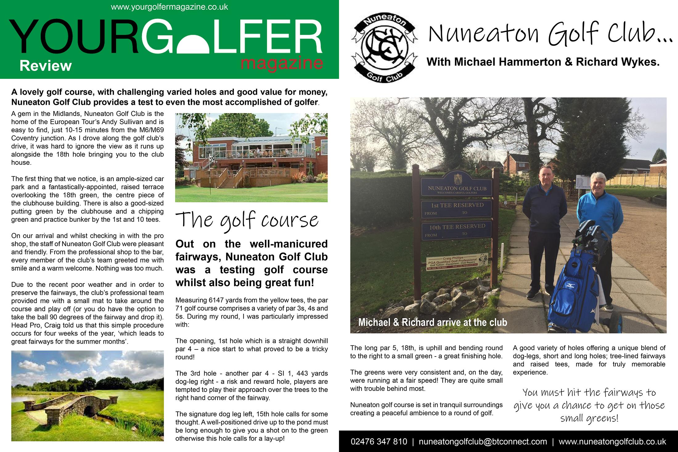 your golfer magazine nuneaton golf club review