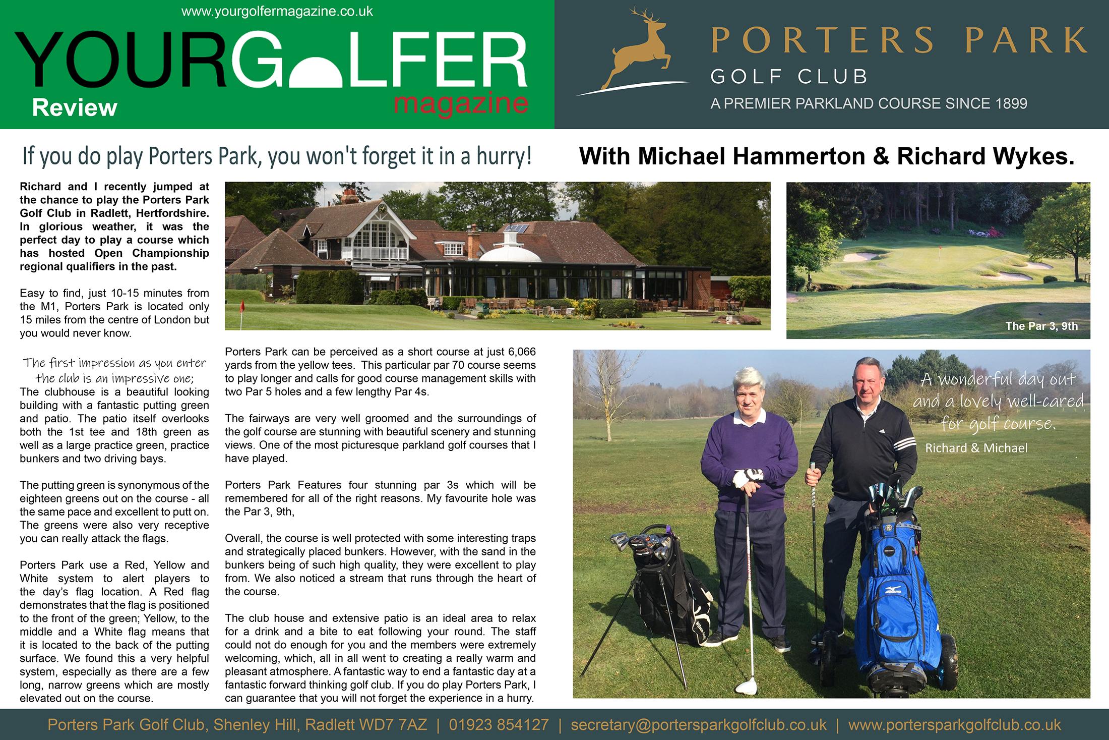 your golfer magazine reviews Porters Park golf club