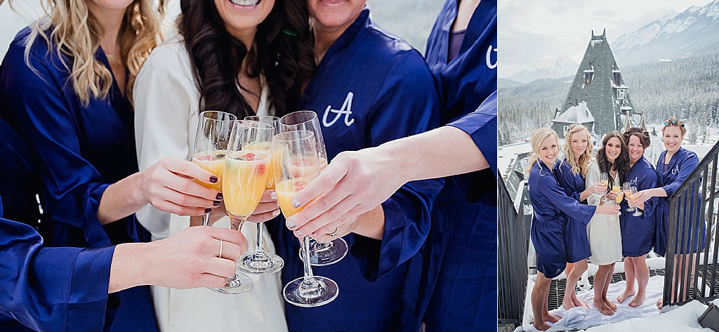 bridal-party-drinking-mimosas- Fairmont Banff Spring