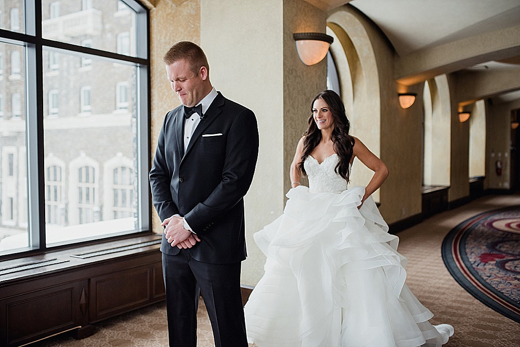 Fairmont Banff Wedding Bride and Groom exciting First Look