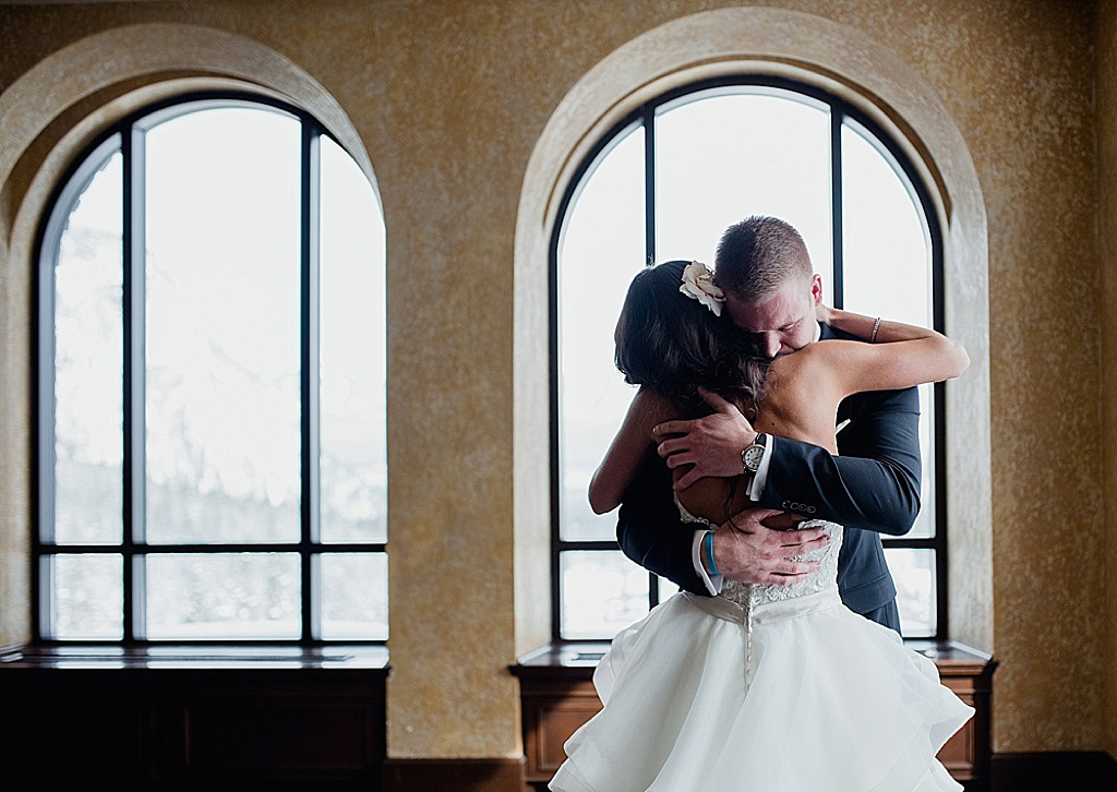 Fairmont Banff Wedding Bride and groom emotional First Look