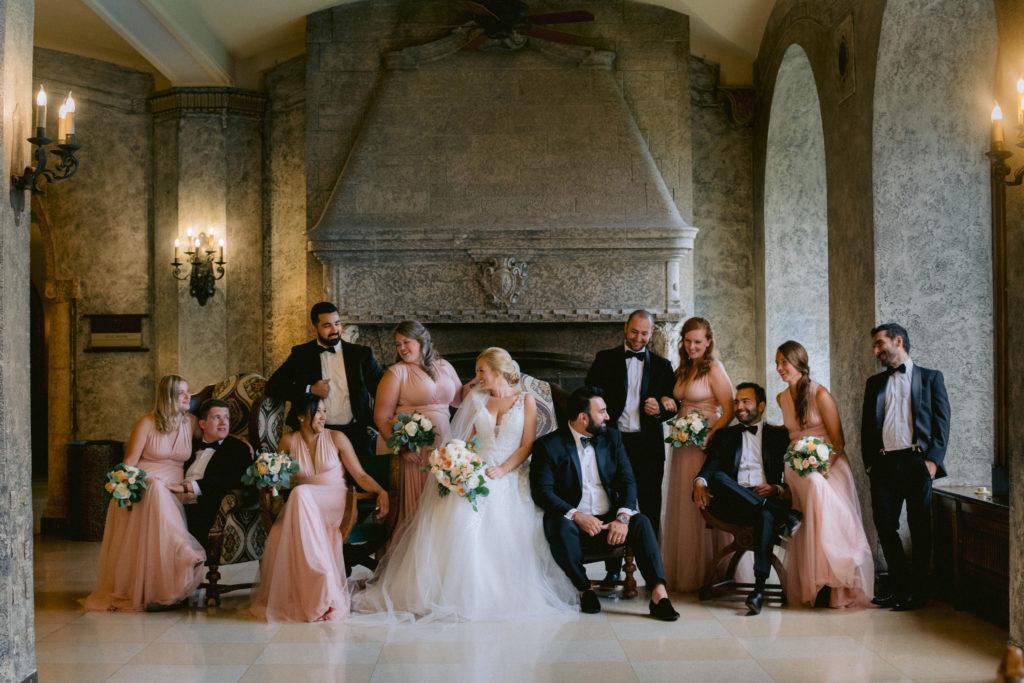 Large Bridal Party at Fairmont Banff Wedding