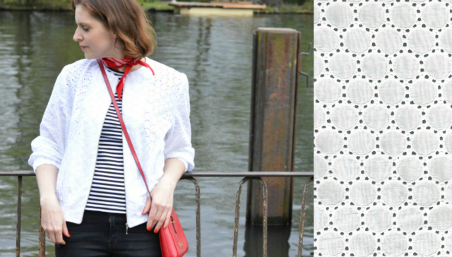 Nautical outfit: Me-made white eyelet bomber jacket Burdastyle June 2015 #101, me-made striped T-shirt Burdastyle February 2011 #106, red bandana, black distressed Zara jeans, red Ralph Lauren bag, black lace-up flats ... Sewionista.com ... Sewing ... Slow Fashion ... DIY ... Blog