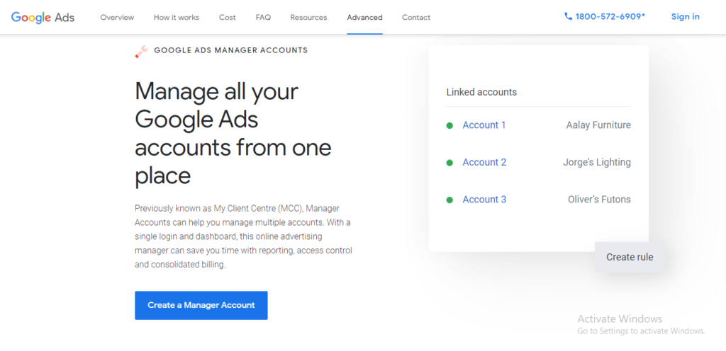 Example of Google Ads Manager Homepage