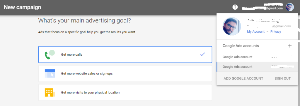 Example of Google Ads account setup page