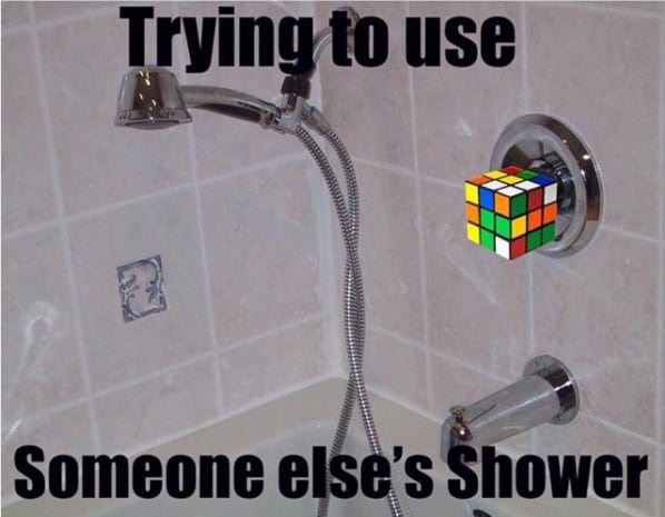 Trying to use other people's shower