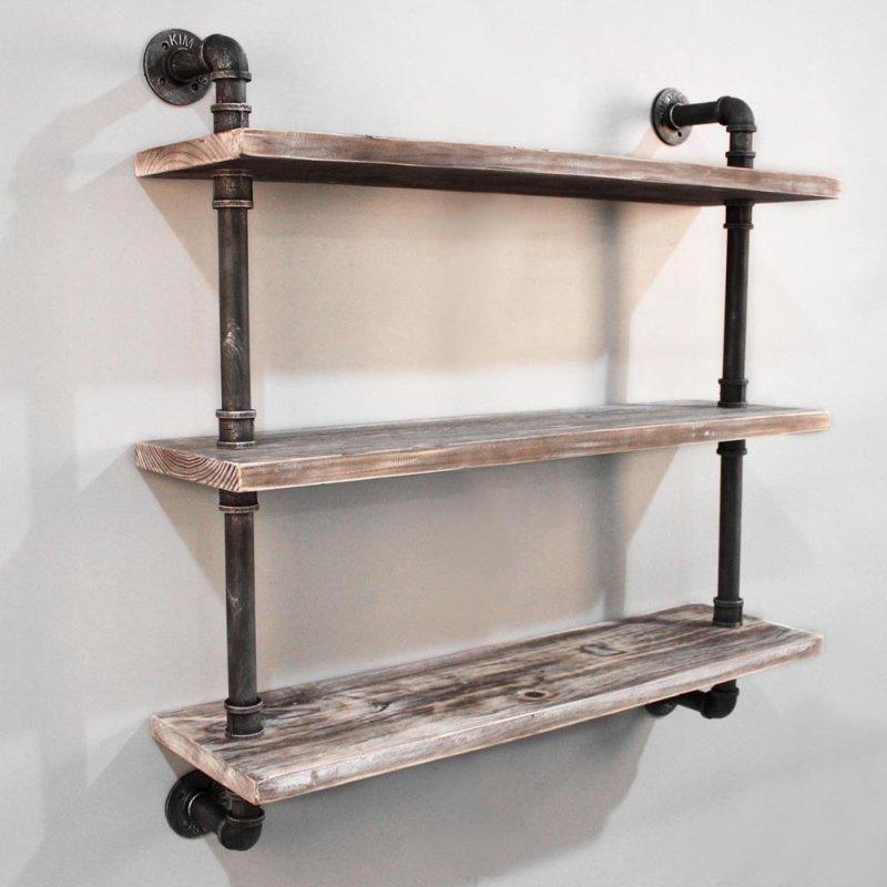 Rustic Industrial Timber & Iron Pipe Shelf