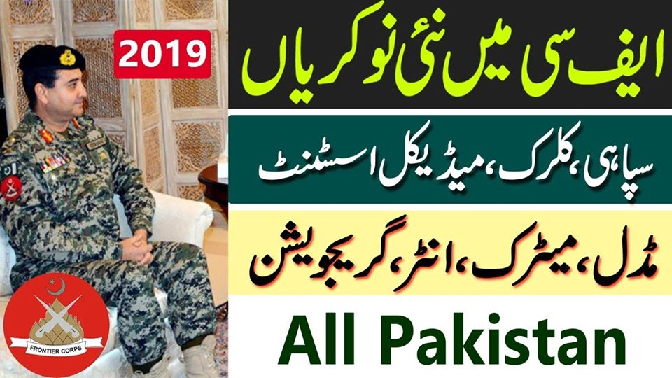Jobs in Frontier Corps Balochistan(South) from all over Pakistan 2019