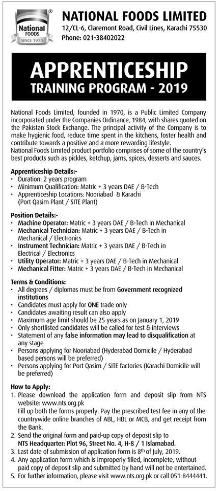 Apprenticeship Training Program 2019 at National Food Limited Apply Online