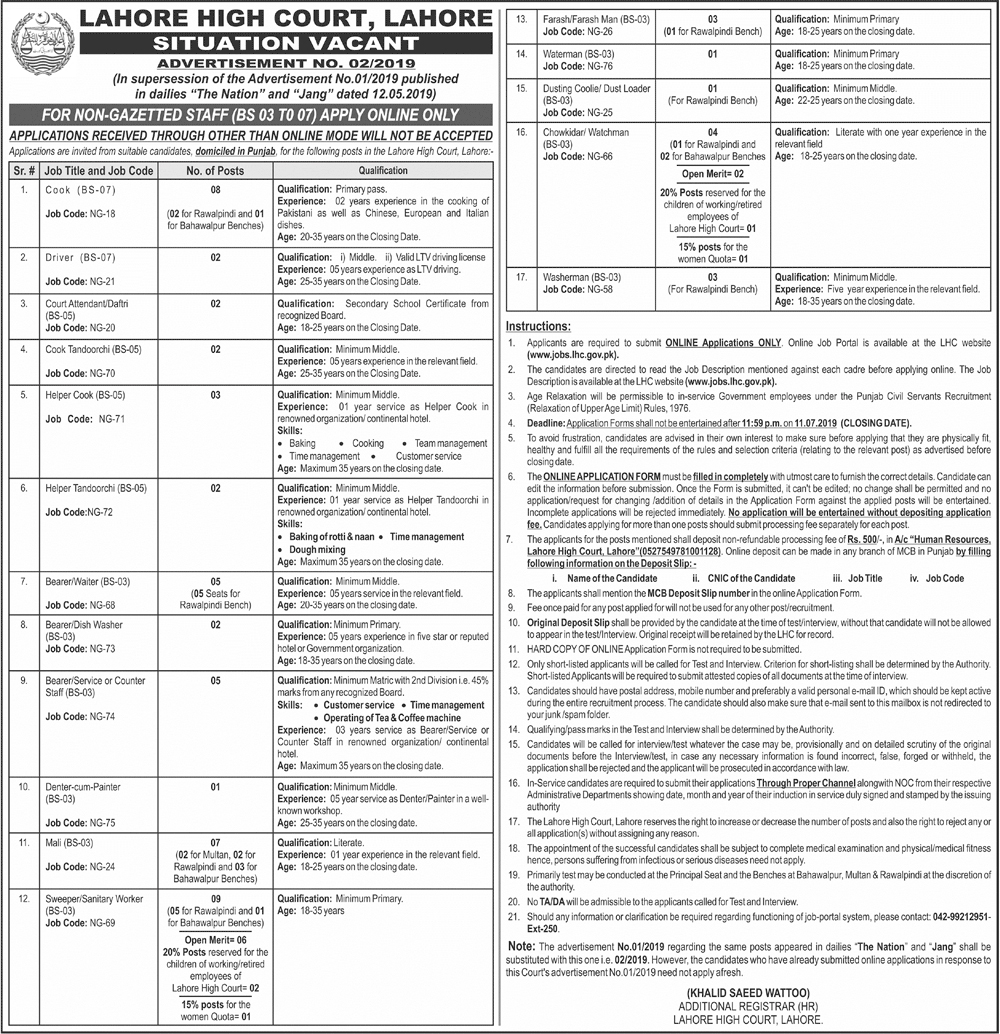 Jobs In Lahore High Court Lahore 28 June 2019
