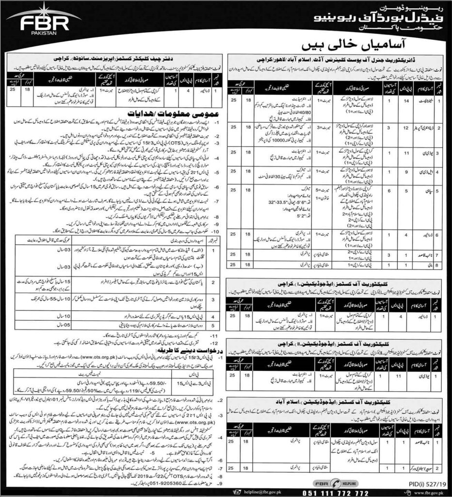 Federal Board of Revenue (FBR) Jobs In Pakistan 2019 Apply Online 660+ Vacancies 03