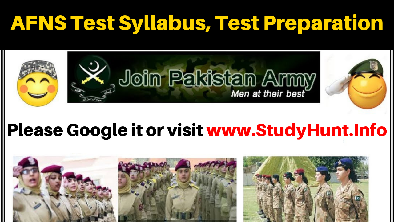 Join Pakistan Army after FSc. 2019 AFNS Test Syllabus, Test Preparation as Armed Forces Nursing Service