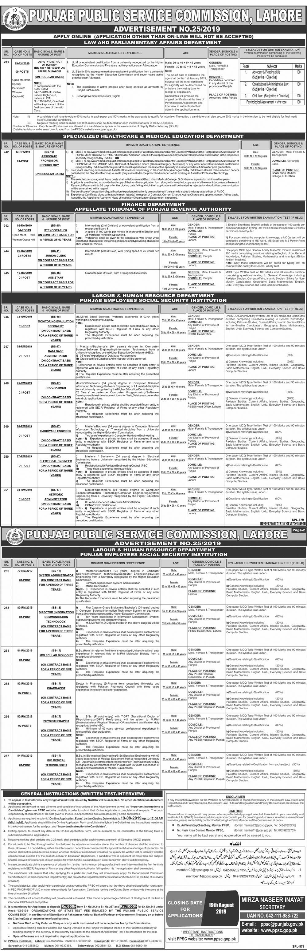 Punjab Public Service Commission PPSC Jobs August 2019