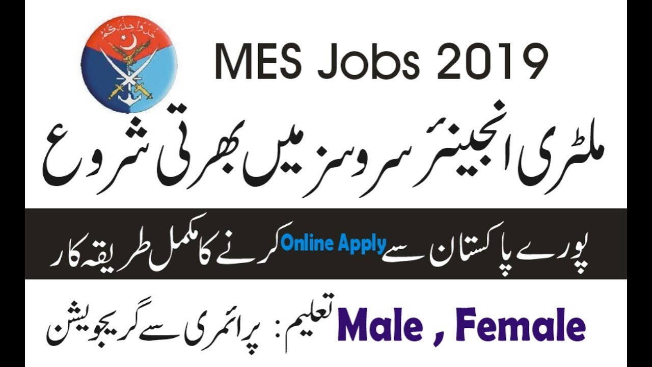 Jobs in Military Engineer Services Pakistan 2019