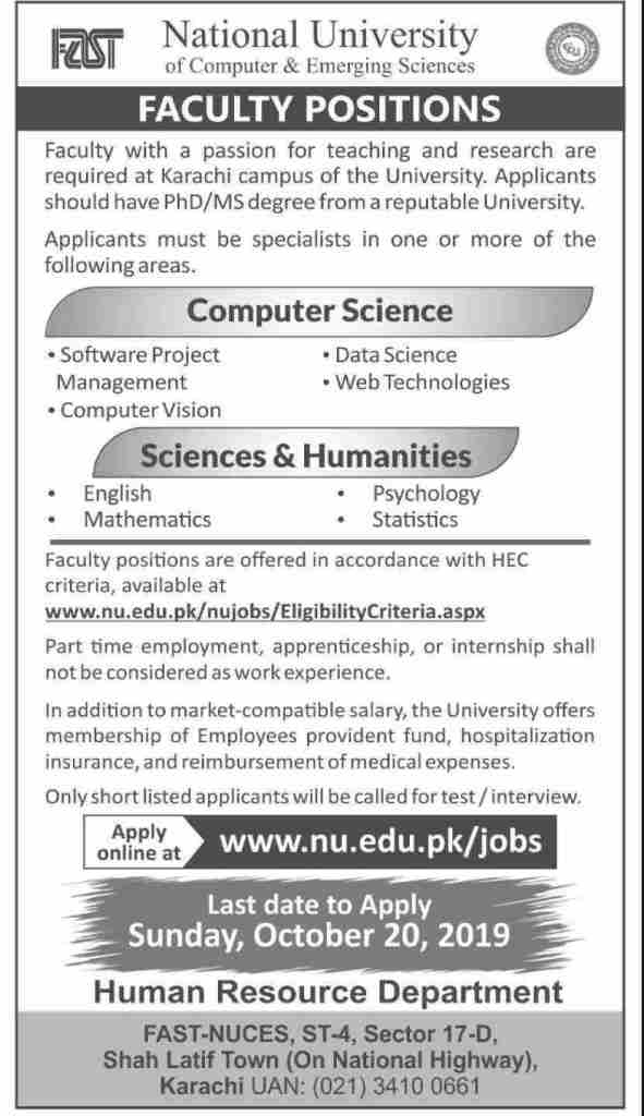 FAST National University Jobs in Pakistan 2019 - Apply Online Teaching Faculty