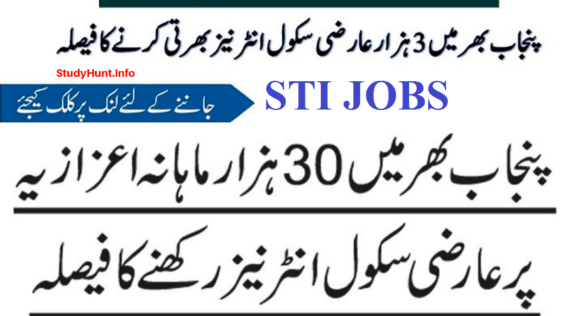 STI Jobs 2020-2021 by Punjab Govt of Pakistan – Upcoming 3000 Vacancies of School Teaching Internees STIs