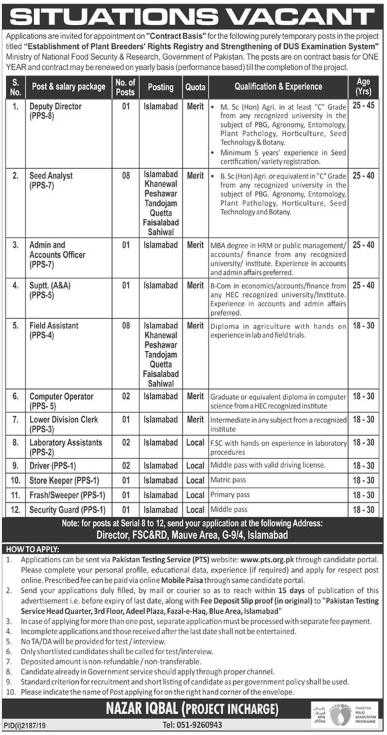 Jobs in Ministry of National Food Security and Research Pakistan 2019